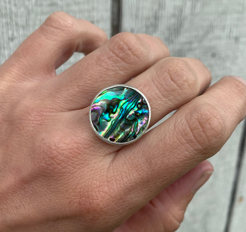 Bright Blue Green or Purple Round Paua Abalone Shell Elegant Ring in Sterling Silver | Beachy | Paua Shell Ring | Boho | Abalone Shell Ring