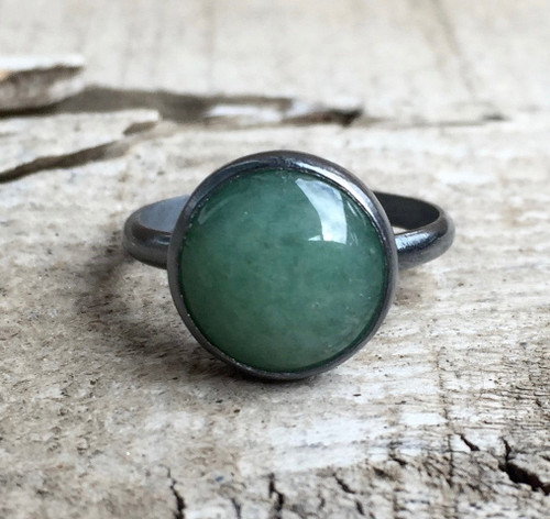 Elegant Round Emerald Green Aventurine Solitaire Ring in Dark Patina or Oxidized Sterling Silver | Gunmetal Aventurine Ring | Boho