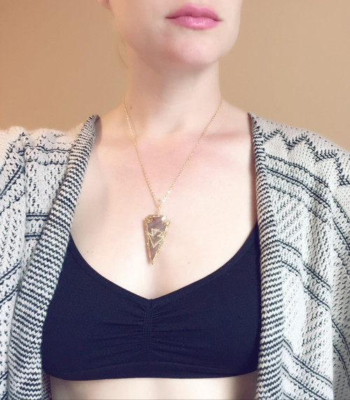 Boho Chic Hand Carved Jasper MultiColored Arrowhead with Gold Dipped Edging and 24 Karat Gold Plated Chain