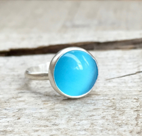 Bright Neon Sky Blue Round Cat's Eye Sterling Silver Boho Chic Ring | Luminescent Blue Gemstone Ring | Boho | Rocker | Ocean Ring