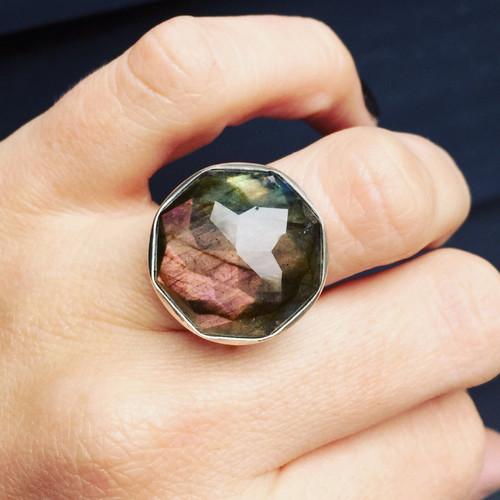 Elegant Octagon Labradorite Geometric Sterling Silver Ring of Balance and Protection | Statement Jewelry | Boho | Rocker | Geometric Jewelry