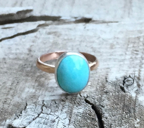 Elegant Modern Sky Blue Turquoise Oval Sterling Silver Ring with Yellow Gold or Rose Gold Filled Ring Band | Turquoise Ring | Mixed Metal