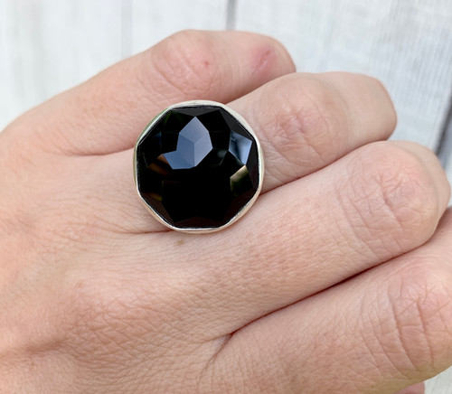 Geometric Octagon Large Faceted Black Onyx Boho Rocker Statement Ring in Sterling Silver