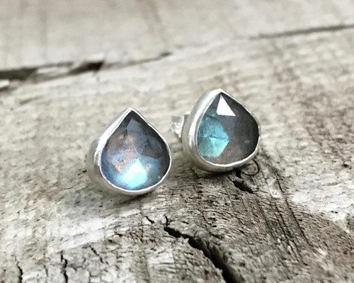 Stunning Flashy Faceted Teardrop or Pear Shaped Labradorite Sterling Silver Statement Earrings | Large Stud Earrings | Boho | Energy Stone