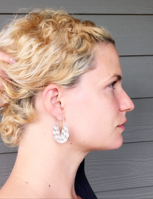 Rustic Geometric Round Hammered Gold or Silver Earrings with Triangle Accent Dangle Earrings