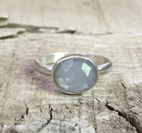 Stunning Elegant Oval Gray Faceted Moonstone Sterling Silver Ring | Moonstone Ring | Elegant Ring | Birthstone Ring | June Birthday