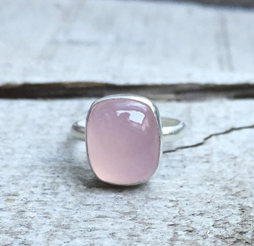 Romantic Light Pink Cushion Cut Birthstone Ring in Sterling Silver