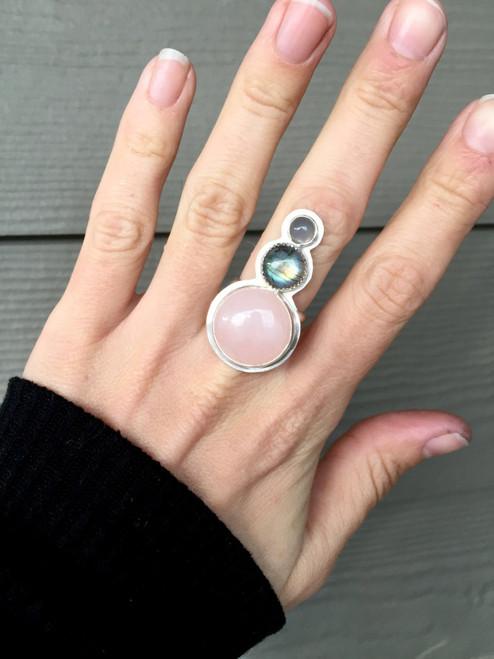 Rose Quartz Labradorite Purple Moonstone Ring | Tri Stone Statement Ring | Elegant Silver Gemstone Statement Ring