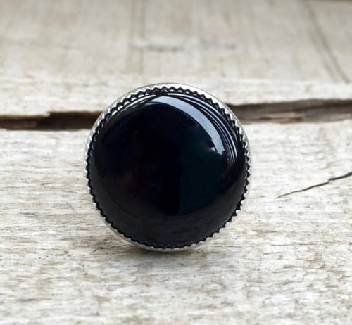 Round Chic Minimalist Black Onyx Ring in Serrated Bezel Setting