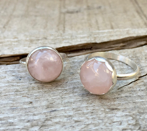 Romantic Gossamer Pink Round Rose Quartz Plain or Scallop Bezel Sterling Silver Ring
