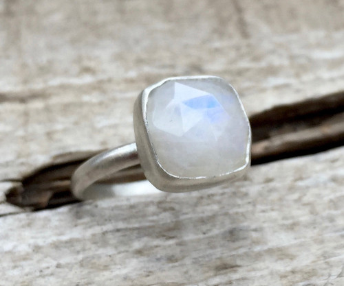 Romantic Faceted Cushion Cut White Moonstone Boho Sterling Silver Ring | June Birthstone Ring | Statement Ring | Geometric Moonstone Ring