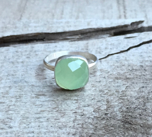 Romantic Faceted Cushion Cut Bright Green Prehnite Boho Sterling Silver Ring | Prehnite Ring | Green Gemstone Ring | Boho | Faceted Ring