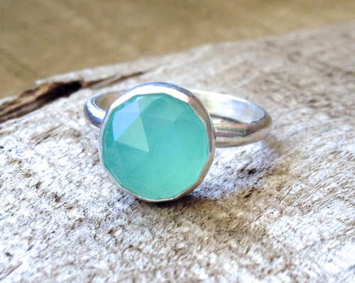 Romantic Pink or Aqua Blue Round Faceted Chalcedony Sterling Silver Ring | Chalcedony Ring | Solitaire Ring | Boho | Elegant Silver Ring