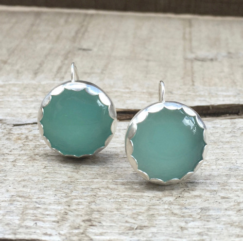 Romantic Elegant Aqua Blue Chalcedony Scallop Bezel Boho Chic Sterling Silver Earrings