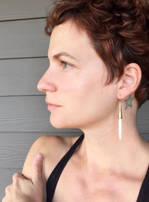 Minimalist Gold Blue or White Howlite Turquoise Earrings | Dangle Earrings | Statement Earrings | Boho | Rocker | Gold Earrings |