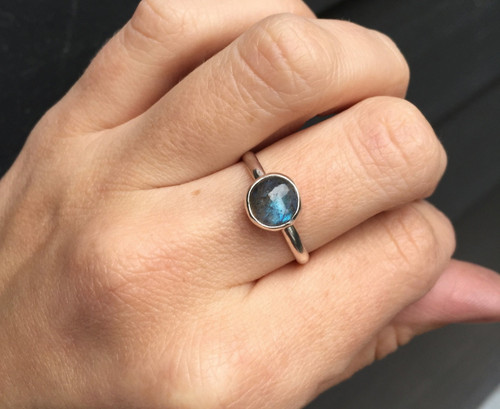 Minimalist Elegant Solitaire Blue Grey Labradorite 8mm Round Sterling Silver Ring | Solitaire Ring | Engagement Ring | Gifts for Her