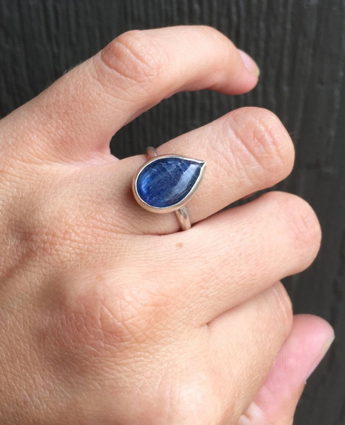 Minimalist Elegant Teardrop or Pear Shaped Blue Pearlized Kyanite Sterling Silver Ring | Blue Gemstone Ring | Teardrop Ring | PearShape Ring