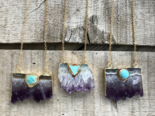 Purple Amethyst Slice Crystal Point Druzy Gold Plated Edgy Statement Necklace | Amethyst Necklace | Gold Necklace | Boho | Rocker