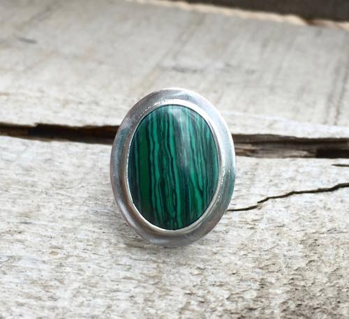 Oval Malachite Sterling Silver Platform Ring | Rose Quartz Ring | Amethyst Ring | Ruby Zoisite Ring | Agate Ring | Goldstone | Aventurine