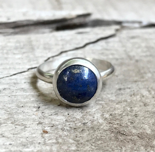 Navy Blue Golden Flecked Lapis Lazuli Sterling Silver Solitaire Ring | Purple Amethyst Ring | Tiger Eye Solitaire Ring | Minimalist | Boho