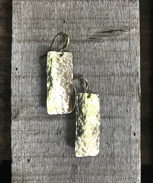 Gold Hammered Brass Rectangle Dangle Drop Statement Earrings | Gold Earrings | Geometric Earrings | Boho | Rocker | Minimalist