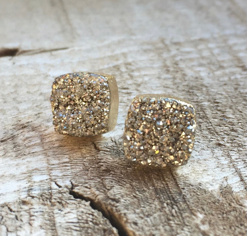 Silver Druzy Square Stud Earrings | Gold Druzy | Druzy Studs | Geometric Jewelry | Stud Earrings | Gold Studs | Geometric Earrings | Boho |