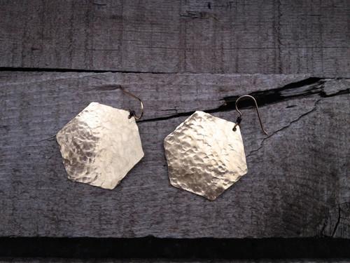 Golden Hexagon Hammered Brass Chunky Dangle Earrings