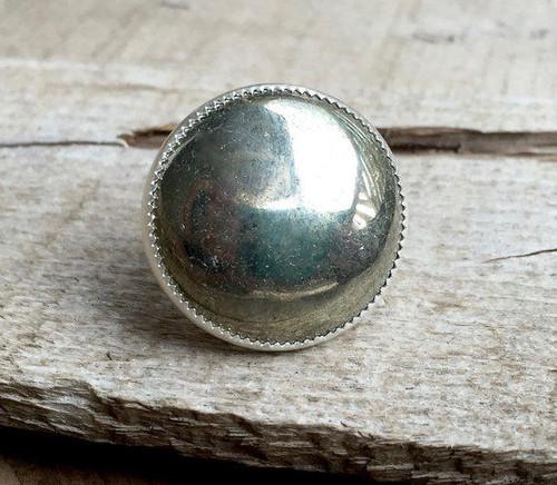 Mixed Metal Large Round Pyrite Statement Ring