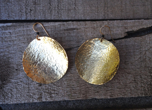 Geometric Circle Hammered Texture Brass Earrings with Gold Filled Ear Hoop with Wire Wrapped Black Detail | Statement Earrings | Boho
