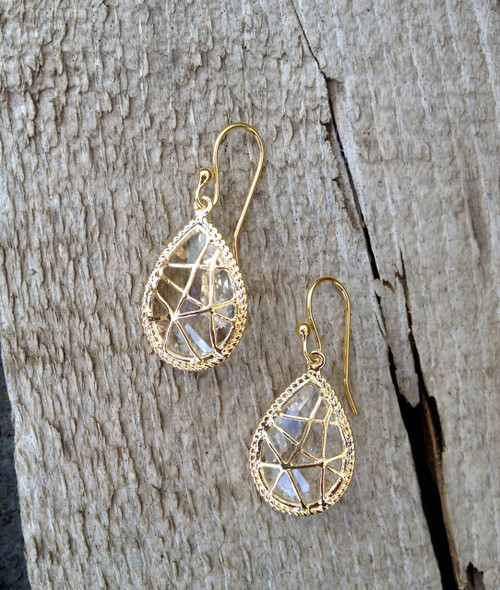 Glam Rock Gold Crystal Glass Pendant Earrings