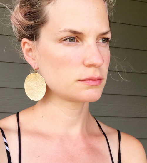 Large Geometric Circle Hammered Texture Gold Brass Boho Rocker Statement Earrings