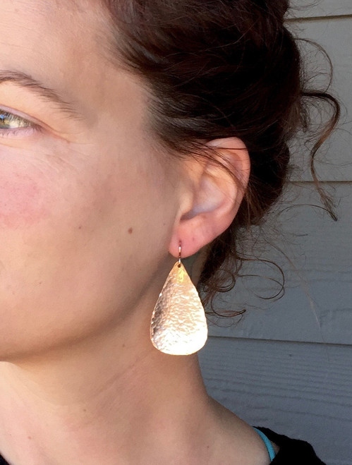 Large Teardrop or Pear Shaped Hammered Texture 14 Karat Rose Gold Boho Chic Earrings | Rose Gold Earrings | Boho | Dangle Earrings
