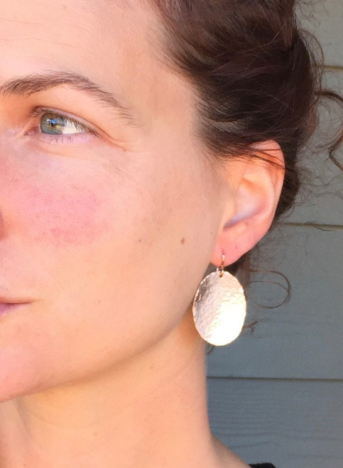 Large Oval Hammered Rose Gold Statement Dangle Boho Chic Earrings