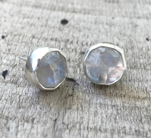 Large Round Faceted Rainbow Moonstone Sterling Silver Stud Earrings | Moonstone Earrings | Stud Earrings | June Birthstone Earrings