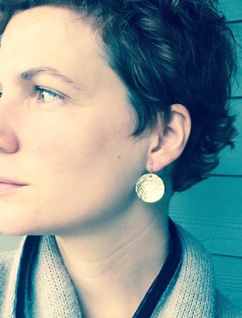 Elegant Hammered Golden Circle Brass Small Dangle Boho Rocker Chic Earrings