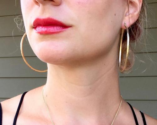 Elegant Golden Brass Hammered Large Hoop Boho Rocker Chic Earrings