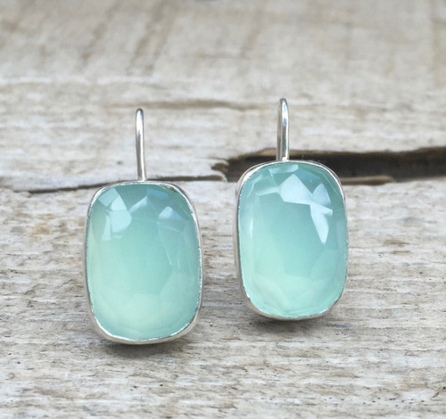 Elegant Minimalist Aqua Blue Faceted Cushion Cut Chalcedony in Sterling Silver Dangle Earrings
