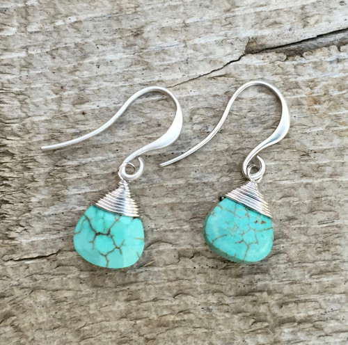 Dainty Faceted Blue Turquoise Rhodium Plated Wire Wrapped Dangle Earrings