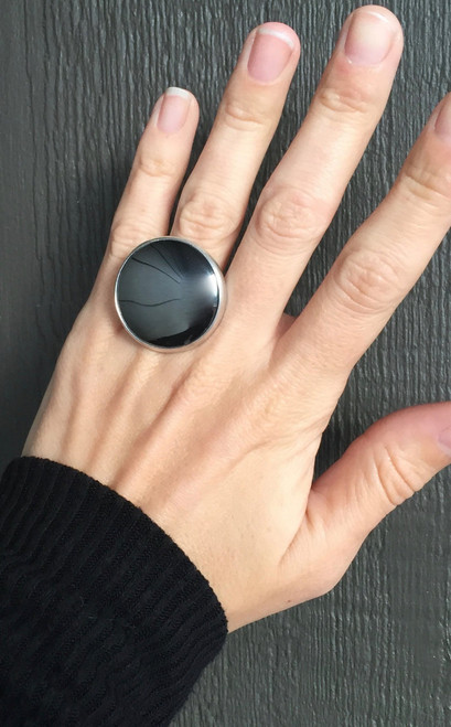 Large Reflective Shiny Dark Charcoal Grey Hematite Sterling Silver Statement | Boho | Rocker | Chic | Edgy | Cocktail Ring