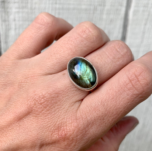 Large Oval Blue Green Flashy Labradorite Sterling Silver Statement Ring | Labradorite Ring | Silver Ring | Protection Stone | Gifts for Her