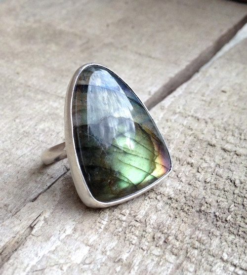Large Rounded Triangle Rainbow Labradorite Ring of Protection and Balance | Geometric Jewelry | Statement Jewelry | Labradorite Ring | Boho