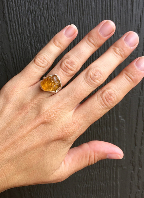 Large Rough Raw Yellow Gold Triangle Citrine Gemstone in Sterling Silver