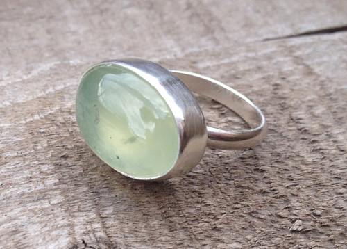 Large Oval Apple Green Prehnite Semi Precious Stone Sterling Silver Ring | Green Gemstone Ring | Prehnite Ring | Love Stone | Gifts for Her