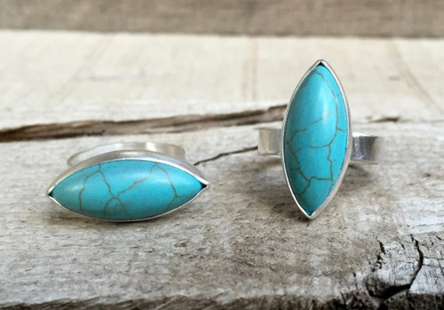 Large Marquise Baby Blue Turquoise Olivary in Sterling Silver Boho Rocker Chic