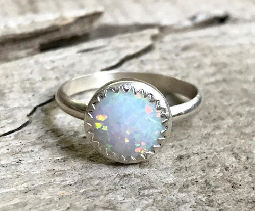 Luminescent Round White Opal Sterling Silver Solitaire Ring with Serrated Bezel Setting | Simulated Opal Ring | Engagement | Wedding Ring