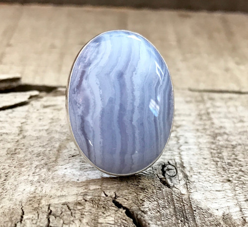 Large Oval Lilac Lace Agate Sterling Silver Statement Ring | Agate Ring | Purple Gemstone Ring | Boho | Rocker | Unique Gemstone Ring
