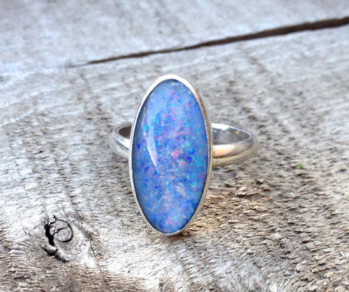 Large Oval Lavender Opal Triplets with Pink and Blue in Sterling Silver