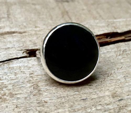 Minimalist Large Round Jet Black Onyx Circle Sterling Silver Statement Ring | Black Gemstone Ring | Edgy | Goth | Rocker | Onyx Ring
