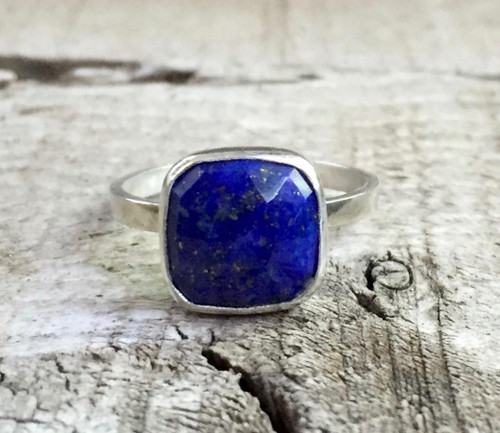 Regal Cushion Cut Blue Gold Flecked Lapis Lazuli Sterling Silver Solitaire Ring | Gifts for Her | Engagement | Promise Ring | Lapis Ring