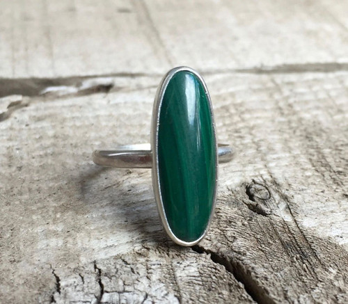 Minimalist Elongated Emerald Green Malachite Sterling Silver Statement Ring | Malachite Ring | Silver Ring | Gifts for Her | Elegant Ring